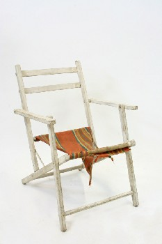 Chair, Lawn, GREEN/YELLOW/ORANGE STRIPED FABRIC,OUTDOOR, DISTRESSED, WOOD, WHITE