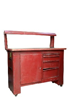 Table, Work, SHOP/GARAGE COUNTER,WORK BENCH W/LIGHT COVER,CUPBOARD,3 DRAWERS, INDUSTRIAL, ROLLING , METAL, RED