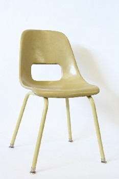 Chair, School, LIGHT BROWN/GOLD,VINTAGE,MOLDED W/LOWER BACK CUTOUT, CHILD SIZED, SCHOOL/CLASSROOM , FIBERGLASS, BEIGE