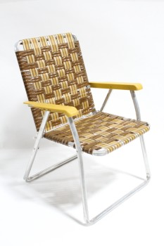 Chair, Folding, VINTAGE OUTDOOR/LAWN, YELLOW/GOLD PLASTIC ARMS, TUBULAR FRAME, VINYL, BROWN