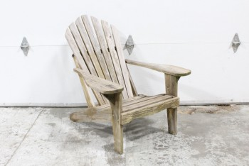 Chair, Lawn, ADIRONDACK/MUSKOKA STYLE,ANGLED BACK,UNFINISHED WOOD PLANK CONSTRUCTION, RUSTIC, OUTDOOR/LAWN/DECK, AGED  , WOOD, BROWN