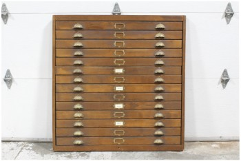 Cabinet, Filing, FAUX FACADE CABINET FRONT W/VINTAGE HARDWARE, LOOKS LIKE 14 DRAWERS, WOOD, BROWN