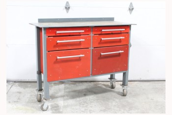 Table, Work, INDUSTRIAL, HEAVY DUTY, GREY FRAME, 6 RED DRAWERS (SM/MED/LG) W/GREY BAR HANDLES, AGED RECTANGULAR TOP W/CUT EDGE, ROLLING, USED, METAL, RED