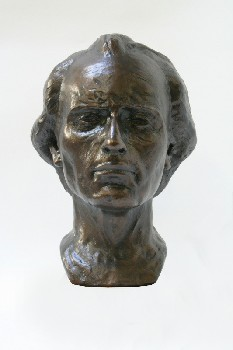Statuary, Bust, MAN W/RECEDING HAIRLINE , CONCRETE, BRONZE