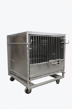 Cage, Laboratory, SINGLE UNIT W/LARGE/PRIMATE SIZED LAB ANIMAL CAGE W/FOOD BOWL, HINGED DOOR, ROLLING , STAINLESS STEEL, SILVER