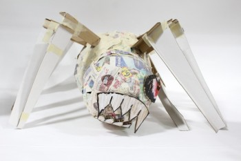 Art, Miscellaneous, SPIDER,NEWSPAPER,1 EYE,SHARP TEETH, CRAFT PROJECT , PAPER MACHE, MULTI-COLORED