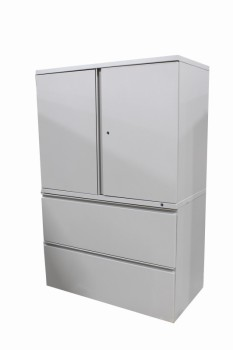 Cabinet, Office, 2 DOOR CABINET TOP,2 LOWER LATERAL SHELVES, METAL, GREY