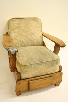 Chair, Armchair, MAPLE FRAME,DRAWER IN BOTTOM, DISTRESSED/AGED, FABRIC, BEIGE