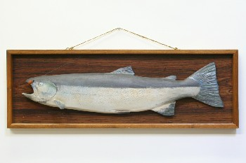 Wall Dec, Fish, FISH,CARVED STEELHEAD W/WHITE BELLY,HOOK & LINE,WOOD FRAME, WOOD, GREY