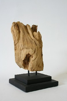 Science/Nature, Wood, DRIFTWOOD ON SQUARE STEPPED WOOD BASE , WOOD, BROWN
