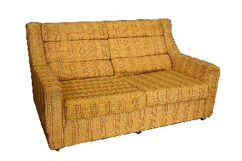 Sofa, Loveseat, PLAID,TEXTURED UPHOLSTERY, ROLLING, AGED, FABRIC, YELLOW
