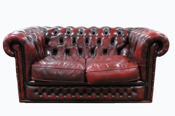 Sofa, Loveseat, CHESTERFIELD/CLUB STYLE, ROLLED ARMS & BACK, BUTTON TUFTED, TACK TRIM, LEATHER, RED