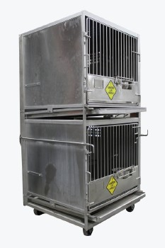 Cage, Laboratory, DOUBLE UNIT W/LARGE/PRIMATE SIZED LAB ANIMAL CAGES W/FOOD BOWLS, HINGED DOORS, ROLLING , STAINLESS STEEL, SILVER