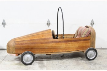Toy, Vehicle, HANDCRAFTED SOAP BOX DERBY CAR W/STRIPED CUSHION, WOOD, BROWN
