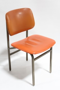 Chair, Client, VINTAGE,SCHOOL/SIDE, METAL FRAME, NO ARMS - Colour May Be Slightly Different Than Shown, METAL, ORANGE