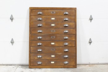 Cabinet, Filing, FAUX FACADE CABINET FRONT W/VINTAGE HARDWARE, LOOKS LIKE 9 DRAWERS, WOOD, BROWN