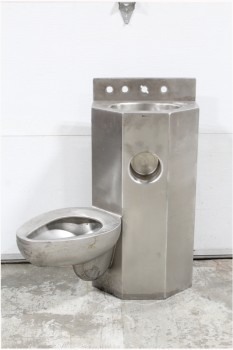 Plumbing, Toilet , INSTITUTIONAL/PRISON TOILET/SINK UNIT, BRUSHED FINISH, ANGLED/SIDE MOUNTED TOILET , STAINLESS STEEL, GREY