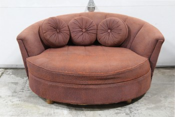 Sofa, Loveseat, VINTAGE/RETRO EARLY 1950s, ROUND, LOW, 3 ROUND CUSHIONS W/BUTTONS, JUMPED ON BY KIDS FOR MANY YEARS, AGED/FADED/USED ORIGINAL UPHOLSTERY, FABRIC, BROWN