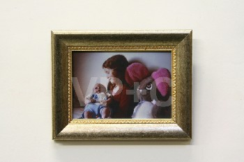 Art, Photo, CLEARED,GIRL HOLDING BABY,LG STUFFED MOUSE,GOLD/SILVER FRAME, WOOD, MULTI-COLORED