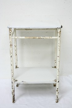 Table, Bedside, ENAMEL TOP,AGED TUBULAR FRAME W/LOWER SHELF, METAL, WHITE