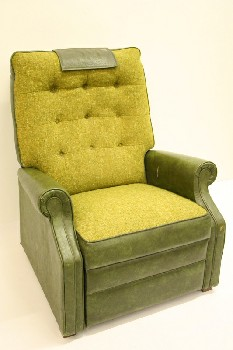 Chair, Recliner, LIGHT GRN FABRIC SEAT/BACK,BUTTON TUFTED, VINYL, GREEN