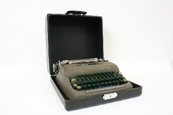Desktop, Typewriter, VINTAGE TYPEWRITER W/GREEN KEYS IN BLACK CASE, METAL, GREY
