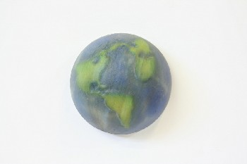 Wall Dec, Planet, EARTH W/GREEN LAND,SPACE/SOLAR SYSTEM,WALLMOUNT,HALF CIRCLE W/FLAT BACK, AGED , PLASTIC, BLUE