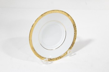 Housewares, Plate, SAUCER,GOLD BORDER TRIM W/LEAVES PATTERN , CHINA, WHITE