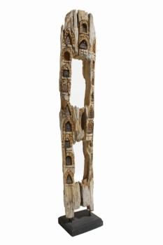 Science/Nature, Wood, VERTICAL PIECE OF DRIFTWOOD W/INSET BUDDHAS & ICONS, BLACK BASE , WOOD, NATURAL