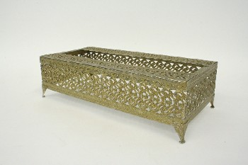 Bathroom, Dispenser, TISSUE BOX COVER, FOOTED,SCROLLED FILIGREE, BRASS, BRASS