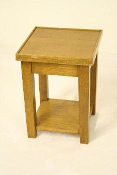 Table, Side, SQUARE TOP W/ TAPERED SQUARE LEGS, WOOD, BROWN