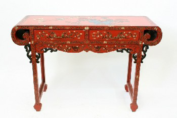 Table, Console, SOFA/HALL TABLE,ASIAN,ORNATE,ENDS SCROLLED UNDER, FLORAL/BIRDS, LACQUERED, 2 DRAWERS , WOOD, RED