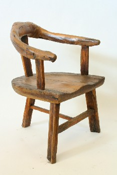Chair, Rustic , CURVED BRANCH BACK,3 LEGS, RUSTIC, WOOD, NATURAL