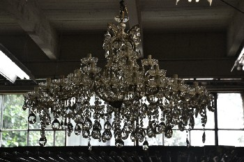Lighting, Chandelier, CUT GLASS CHANDELIER, NON-FUNCTIONING , GLASS, CLEAR