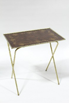 Table, Folding, RETRO TV TRAY TABLE,BROWN TOP W/FLORAL BORDER, BRASS COLOURED LEGS, METAL, BROWN