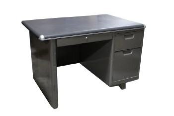 Desk, Metal, 1 LOWER & 2 SIDE DRAWERS,PULL OUT SHELF (NO HANDLE), DARKER GREY TOP W/CAPPED CORNERS, ONE SIDE SLIGHT OVERHANG, METAL, GREY