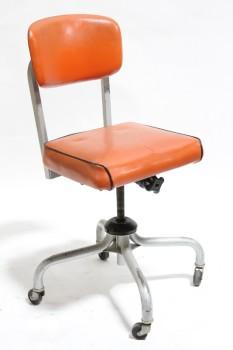 Chair Office Vintage Industrial Vinyl Seat Back W Black