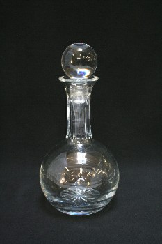 Bar, Decanter, PLAIN,ROUND BODY,CUT NECK & BASE,BALL STOPPER, GLASS, CLEAR