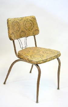 Chair, Dining, KITCHEN,BROWN & GOLD PATTERNED, BROWN TUBE FRAME W/WIRE DETAIL ON SEAT BACK, VINYL, BROWN