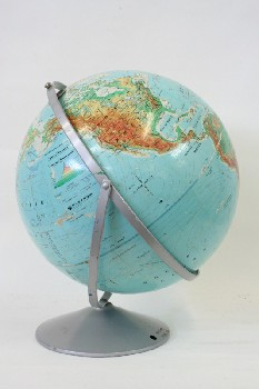 Globe, Tabletop, WORLD,BLUE/GREEN ON ROUND METAL GREY STAND W/2 RINGS, PAPER, MULTI-COLORED