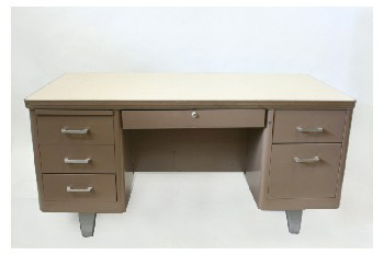 Desk, Metal, STEELCASE TANKER DESK,6 DRAWERS,BEIGE FRONT DRAWER & ROUNDED PULLS, BEIGE LAMINATE TOP, METAL, BROWN