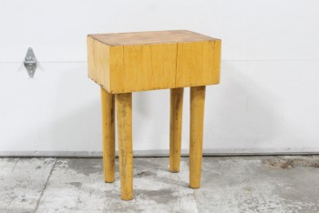 Table, Butcher Block, THICK RECTANGULAR TOP,4 SLIGHTLY TAPERED LEGS, HEAVY/SOLID, WOOD, BROWN