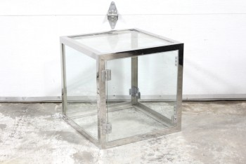 Shelf, Glass, TRANSPARENT SINGLE CUBE SHELF, REFLECTIVE CHROME FRAME, CHROME, SILVER