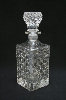 Bar, Decanter, SQUARE,DIAMOND CUT BODY & STOPPER, GLASS, CLEAR
