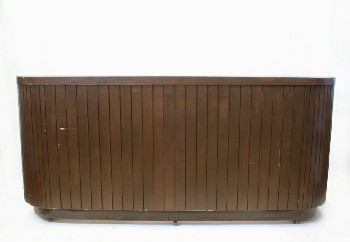 Counter, Misc, BAR,ROUNDED ENDS,SLAT FRONT,EMPTY BEHIND, DISTRESSED, ROLLING, WOOD, BROWN