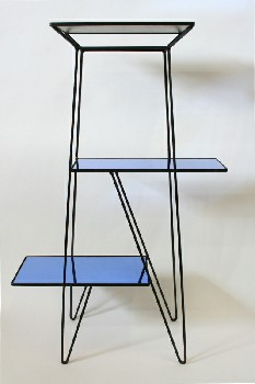 Shelf, Glass, MID-CENTURY MODERN,BLUE MIRRORED GLASS SHELVES, 3 LEVELS (Top To Bottom: 20x14
