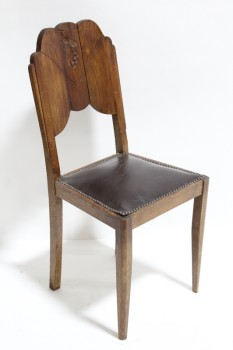 Chair, Dining, OLD STYLE,TACK TRIM SEAT W/DARK PADDING, ROUNDED BACK W/CARVED GRAPES, AGED , WOOD, BROWN