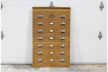 Cabinet, Filing, FAUX FACADE CABINET FRONT W/VINTAGE HARDWARE, LOOKS LIKE 7 DRAWERS, WOOD, BROWN