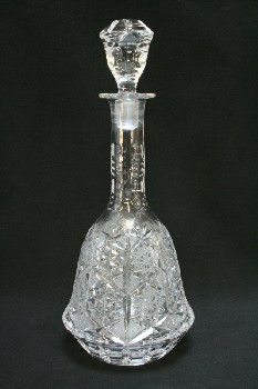 Bar, Decanter, BELL SHAPED W/ORNATE CUTS,TAPERED STOPPER, GLASS, CLEAR
