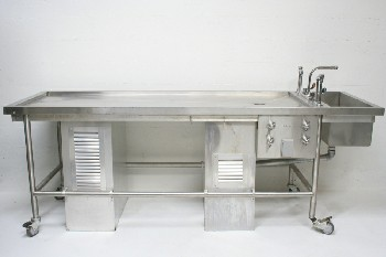 Medical, Morgue, AUTOPSY TABLE W/TAPS,DRAIN & LOWER VENTILATED BOXES, END SINK,ROLLING, STAINLESS STEEL, SILVER